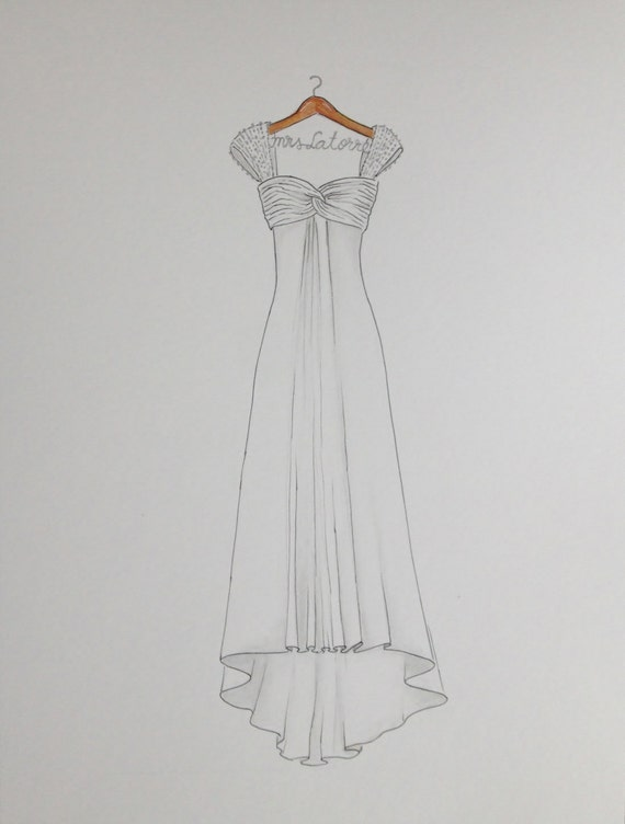 Custom wedding dress drawing on hanger with name original