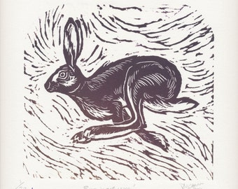 Original hand burnished linocut print of a racing hare entitled 'Run Hare Run', original art, limited edition, hand made