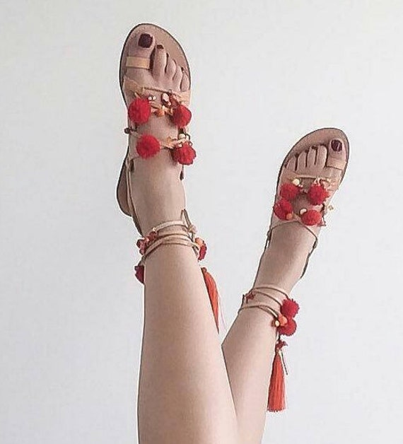 Pom grecques Up Sandals Pom SALE Sandals Greek Sandals Tie Gladiator Sandales t8xvRq0w