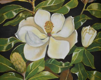 The Magnolia Flower Oil original painting on stretched canvasTop selling artist