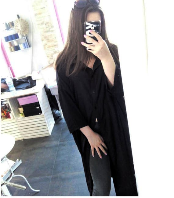 Anti Fit Oversized Extra Long Woman Shirt / Extravagant Maxi Black Shirt / Plus Size Loose Black Woman Silk Shirt / Sexy Summer Long Shirt