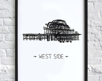 West Side  -  Brighton Pier print