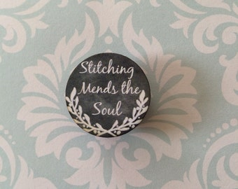 stitching mends the soul chalk art style needleminder magnetized needle minder