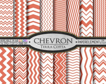 Terra Cotta Chevron Digital Paper Pack - Instant Download - Chevron Paper for Digital Scrapbooking
