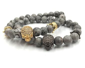 Skull bracelet/ Bracelet set/ Stackable bracelets/ Skull beaded bracelet/ Men's jewerly/ Gift for him/ gold plated skull bracelet/ zirconia