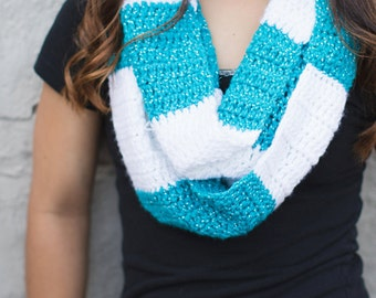 Crochet Pattern - Infinity Rugby Scarf (Rugby Infinity Scarf Crochet Pattern by Little Monkeys Crochet) Infinity Scarf Pattern, Rugby Scarf