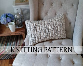 Knit Pillow PATTERN, Knitted Pillowcase Pattern, Pillow Cover Knitting Pattern, Easy Knitting Pattern, Beginner Knitting Pattern, Chevron