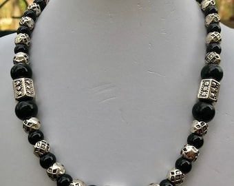 "17"" Onyx and Pewter Beaded Necklace with Spring Ring Clasp"