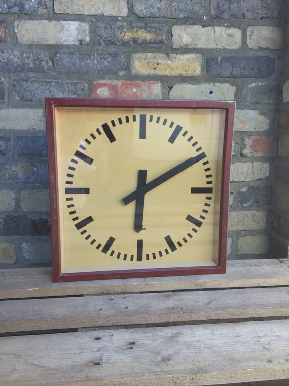 1950's East German Large Industrial Factory / Office Clocks By Elfema