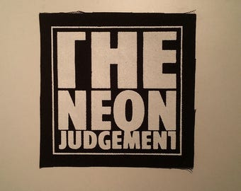 Neon judgement patch synth goth electronic industry post punk