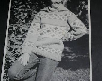 Sweater Knitting Pattern Women Men Snowflower Bouquet 501 Cowichan Bulky Weight Yarn Vintage Paper Original NOT a PDF