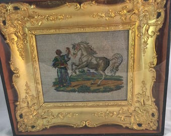 Antique Framed Bead Work And Petitpoint