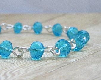 Turquoise Crystal  Bracelet, Aqua Beaded Bracelet, Blue Crystal Jewelry