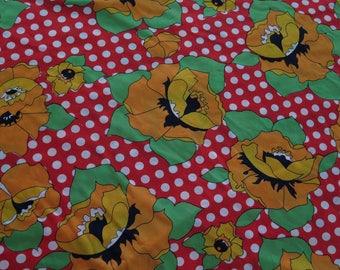 Vintage MOD Red Polka Dot Orange Poppies Slinky Yardage Fabric