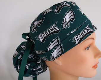 Philadelphia Eagles fabric Ponytail - Womens lined surgical scrub cap, scrub hat, Nurse surgical cap, F+880 W