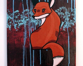 Red Fox - Original Acrylic Painting Wall Art on Canvas by Karen Watkins - 12 x 16 Inch Artwork - Woodland Animals Artwork