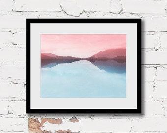 pink blue wall art, pink minimalist art, abstract landscape, mountain landscape art, ethereal pink art, mountain art print, whimsical print