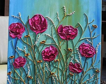 Original  Heavy  Impasto  Pink Blue   Flowers  Palette  Knife Acrylic Painting. Made2Order.