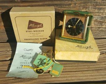 Antique German Kienzle Travel Alarm Clock w/Original Paperwork & Box - Works!