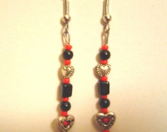 Black and Red Heart Earrings