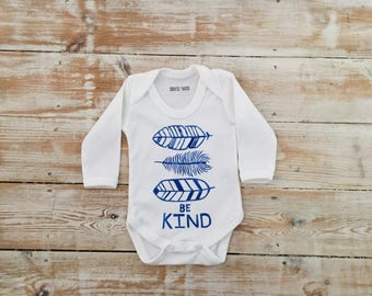 Be Kind feathers Baby Grow in brilliant blue 100% Organic Bodysuit - Feather Baby Clothes - Be Kind Organic Baby Vest - Hippy Baby Onesie