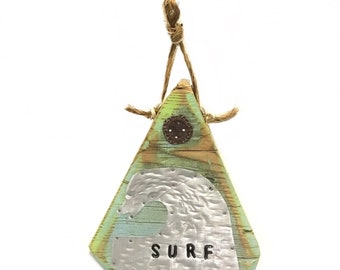 Surf Waves Beach Sign OOAK-Original Art Beach Decor Triangle Home Goods Metal Waves Ocean Art Surfing Coast Beach Art Mangoseed
