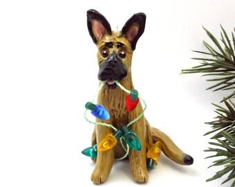 Belgian Malinois PORCELAIN Christmas Ornament Figurine Lights