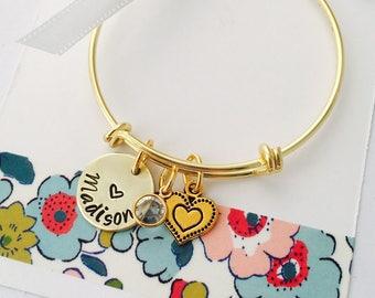 Gold Name Bracelet, Personalized Kids Bracelet, Little Girls Gold Bracelet, Young Girls Jewelry, Gold Bracelet, Kids Bangle Bracelet