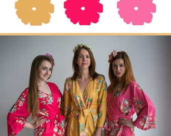 Watermelon Pink, Strawberry and Mustard Wedding Color Bridesmaids Robes - Premium Soft Rayon - Wider Belt and Lapels - Wider Kimono sleeves
