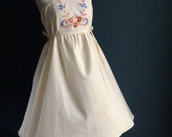 Women's summer dress | embroidered linen + certified 100% organic natural cotton, 1940s inspired dress, inside pockets.