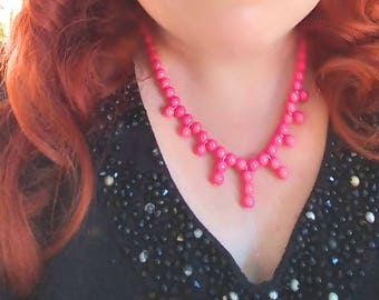 Rita - Pink Beaded Necklace, Vintage Style Jewelry, Statement Necklace, 50s Style Jewelry, Rockabilly Jewelry, Pin Up Jewelry, Retro Jewelry