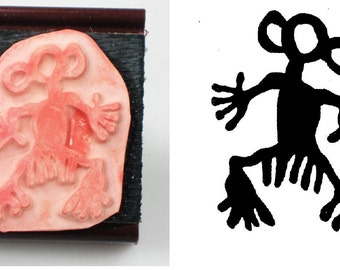 Rock Art Petroglyph Man Design Stamp Tool for PMC - Ceramic Polymer Clay - Scrap Booking & Textiles - Southwest Rock Art Figure Rubber Stamp