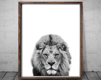 Lion Print Black and White, Lion Wall Art, Safari Animal, Woodlands Nursery Art, Printable Nursery Decor, Lion Art Poster, Nursery Wall Art