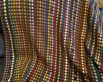 Striped Afghan in Scraps - Crochet Throw Blanket