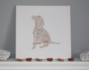 Large Beagle Puppy Word Cloud Art Picture Canvas 30 x 30 cm