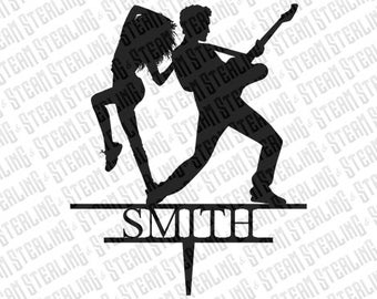 Wedding Cake Topper Personalized Rock Star and Dacer Bride and Groom Silhouette Laser Cut LGBT Gay Lesbian Friendly
