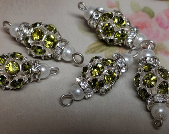5 Piece Vintage Lime color Glass Rhinestone Connectors With Pearl,  Rhinestone Ring and Silver Claw Setting, 2 Loops, Jewelry Making Supply