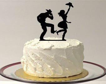 MADE In USA, CowBoy and CowGirl Wedding Cake Topper, Country and Western Wedding Cake Topper, Country Wedding Cake Topper Silhouette