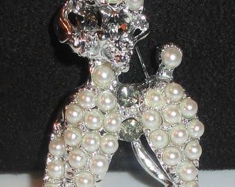 Silver Tone Smoky Rhinestone Eye & Faux Pearl Figural POODLE Dog Pooch Brooch