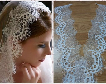 3 m * 9cm lace off white chantilly - lace mud - Ref. 1936