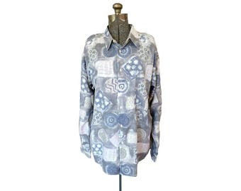 Vintage 1980s Iago Muted Funky Print Rayon Shirt (XL) / Blue and White / Abstract Geo Pattern