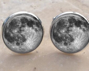Moon Cufflinks - Full Moon Cuff links - Galaxy Cufflinks -Space Cufflinks- Planet - Astronomer Men's Gift