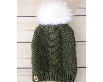 Dark Green Cable Knit Hat w/ White Faux Fur Pom