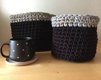 Black and Gold Crochet Basket Pair