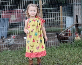 Girl Chicken Dress, Rooster, Toddler, Pillowcase Dress, Birthday, Chicken, Farm, Summer, Hen, Bird, Sundress, Baby 6 12 18 24 2T 3T 4T 5 6 7