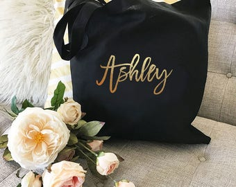 Bridesmaid Tote Set of 6, 7, 8, 9 YOU CHOOSE QTY Bridesmaid Tote Bag Set of 6, 7, 8, 9 Maid of Honor Bridesmaid Tote Personalized (EB3216CT)