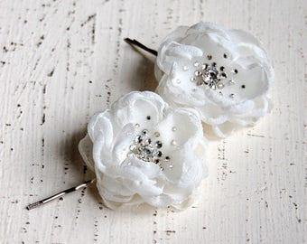 Wedding Hair Flowers, Bridesmaid Hair Flowers, Flower Girl Hair Pins, Wedding Accessories - Wedding Mini Hair Flower Bobby Pins - Christie