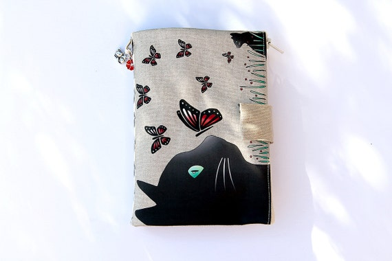 """Bag Organizer / multipoches illustrated natural linen """"cat and butterflies"""""""