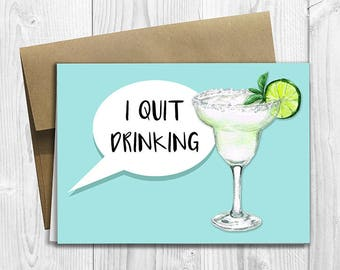 PRINTED I Quit Drinking -  Pregnancy Announcement 5x7 Greeting Card - Funny Expecting