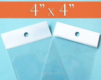 """100 4 x 4"""" Inch HANG TOP Clear Resealable Cello Bags Packaging for Hanging on Display or Peg"""